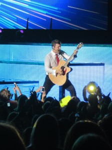 Nick Carter plays guitar during at DTE Energy Music Theater. STEPHANIE SOKOL/The Oakland Press