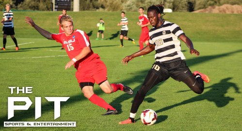 Soccer photo from exhibition game Oakland University vs. Saginaw Valley State University.